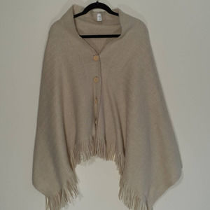 Demdaco fringe button front poncho in beige O/S